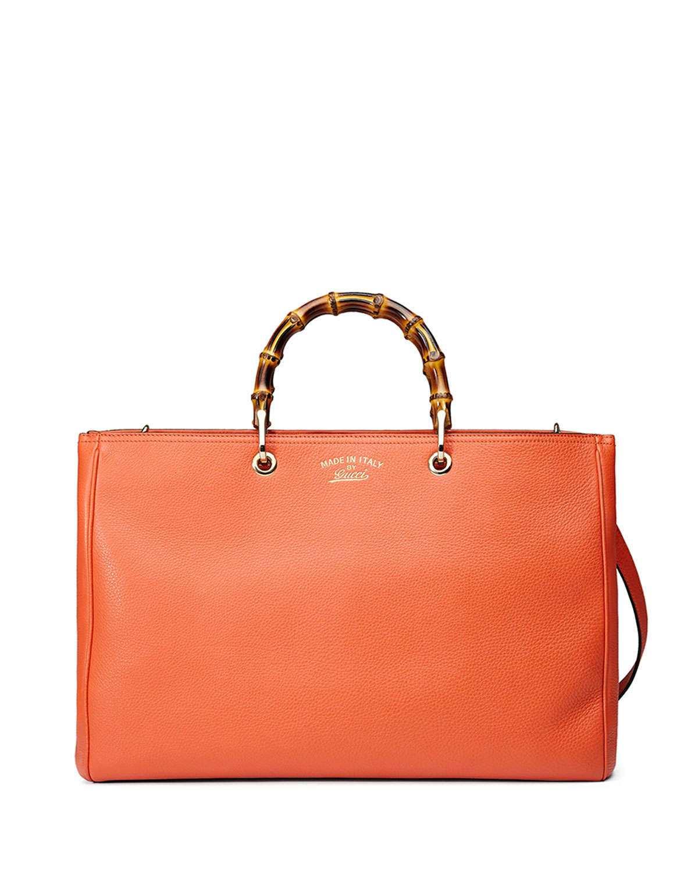3019654cb768f Gucci Bamboo Large Shopper Tote Bag New Dark Orange 01