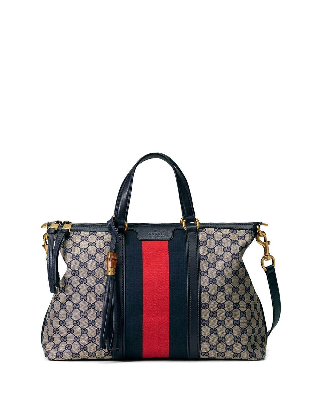 ea477a2435a5 ZELTOG   Gucci Raina Medium GG Canvas Top Handle Bag, Beige/Blue